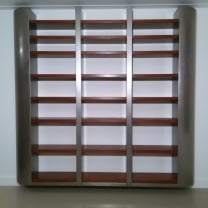 Zwevende boekenkast 3 vaks  -  Rvs /  Okoumé  multiplex