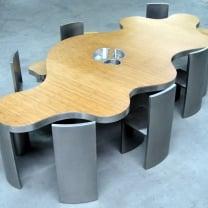 Organische  tafel + stoelen  -  Rvs / Bamboe
