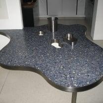 Organische  tafel  -   Rvs  frame  /  Granito blauw Sodaliet