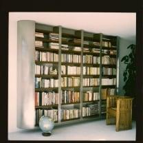 Zwevende boekenkast 4 vaks  -  Rvs /  Okoumé  multiplex